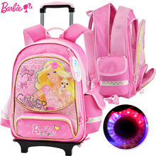 Barbie cartoon trolley/wheels children/kids safety school bag books rolling backpack with detachable for girls grade 3-6(China)