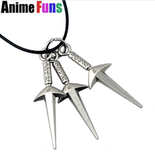 Hot Anime Naruto Namikaze Minato Hand Sword Model Logo Pendant Necklace Choker Statement Necklace Charm Cosplay Jewelry