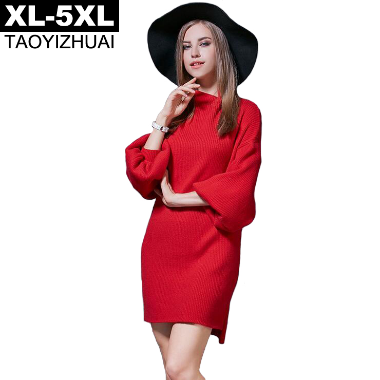 Red Color Knitted Sweater Dresses 2017 Autumn Winter Turtleneck Lantern Sleeve Elegant Women Dress XL - 5XL Plus Size VestidosÎäåæäà è àêñåññóàðû<br><br>