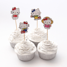 24pcs/lot Different Style Hello kitty Cupcake Topper Theme Cartoon Party Supplies Kids Boy Birthday Party Decorations