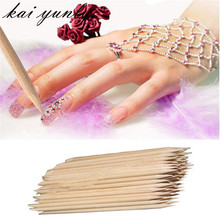 100PCS Beauty Nail Art Orange Wood Stick Cuticle Pusher Remover Pedicure Manicure Nail Finger Care Tool Dropshipping Aug 25