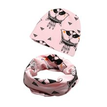 2 Pcs Set Winter Warm Baby Kids Caps With Scarf Sets Cotton Kids Girls Boys Infant Floral Hats Scarf Set
