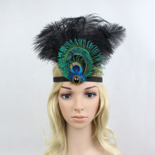 Indian Style Ostrich Feather Rhinestone Black Hair Band Elastic Party Evening Dinner Dance Show Women Purple Feather Headpiece