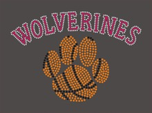 WOLVERINES paw basketball crystal transfer for T shirt wholesale price(China)