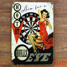 HOT HIT BULLS EYE Metal Poster Wall Decor Bar Home Vintage Craft Gift Art 20x30cm Iron painting Tin Poster