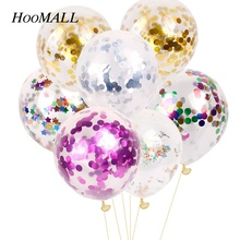 Hoomall 10Pcs/Bag 12 inch 1.5cm Sequins Confetti Latex Balloons Gold Helium Birthday Wedding Engagement Party Events Decoration(China)