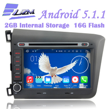 16G Flash For Honda CIVIC 2012 2013 Car DVD Player Tape Recorder Android 5.1.1 Quad Core 3G WIFI Radio GPS Navigation TV DVR BT