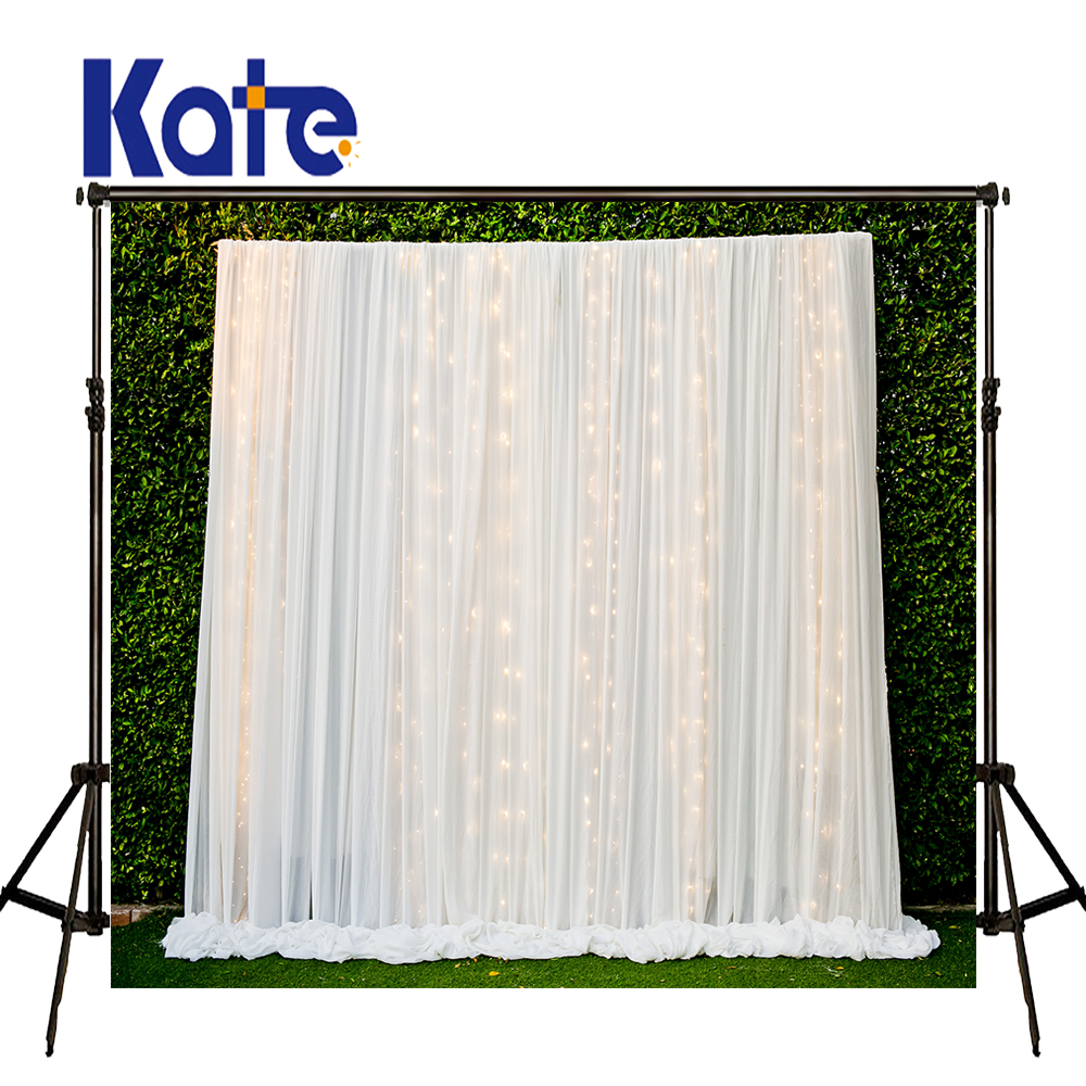 KATE Photography Backdrop Wedding Background White Curtain Photo Studio Backdrop Background Green Leaf Wall Backdrops for Studio<br>