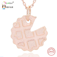 925 Sterling Silver Chain Cookies Waffle Dessert Pendants & Necklaces For Women Rose Gold Fashion Jewelry 2018 New Arrival Gifts(China)
