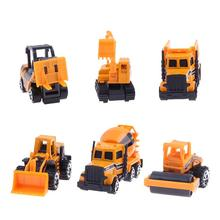 6pcs/set Mixed Mini Alloy Engineering Vehicle Car Model Toys Tractor Dump Truck Children Educational Toy Classic Gift for Boy(China)