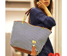 ASDS 2017 New Striped Canvas Handbag Women Shoulder Bags Beach Bag Fashion Zipper Tassel Women Handbag Big Tote Bag