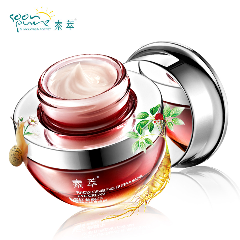 SOON PURE Red Ginseng Snail Serum Eye Cream Dark Circles Anti-Puffiness Moisturizing Anti-Aging Cream For Eyes Skin Care 20ml<br>