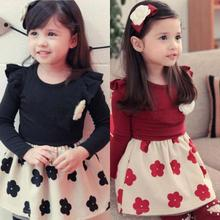 UNIKIDS Cheap Price 1PC Kids Girls Dresses Flower Ruffled Long Sleeve Pageant Costume Dress 1-6Y
