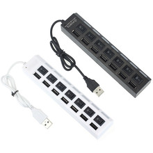 Factory price Hot Selling New 7 Ports LED USB 2.0 Adapter Hub Power on/off Switch For PC Laptop Drop Shipping(China)
