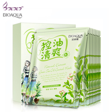 Green Tea Oil Control Moisturizing facial face mask sheet fresh not greasy brighten the skin care cosmetics brand treatment mask(China)
