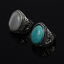 Vintage Oval Design Moonstone Green Stone Men Rings Antique Silver Flower Carving Male Ring Finger Accessories R0237