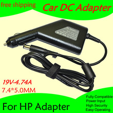 High quality DC Power Car Adapter Charger 19V 4.74A For Laptop HP 7.4*5.0MM 90W Input DC11-15V max 10A Free shipping