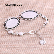 PULCHRITUDE 3pcs 22cm Alloy Antique Silver Chain Bracelet Hand Charm Round Cabochon base Setting Fit 25*18mm Dia Women Z0025