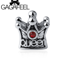 GAGAFEEL Luxury Princess Queen Crown Charm Fit Bracelet Necklace European Original Accessories with Red CZ Crystal DIY Beads
