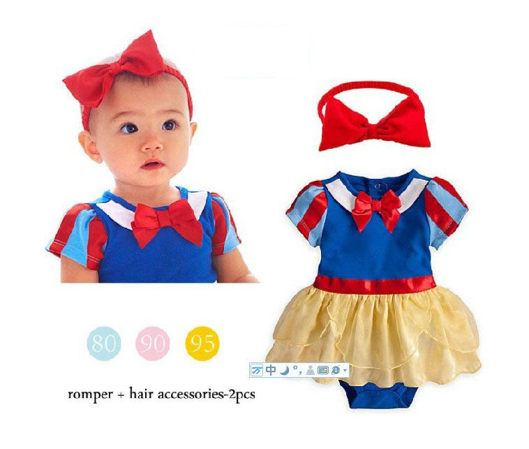 Fashion princess snow white halloween costume for baby girl romper tutu clothing with handband<br><br>Aliexpress