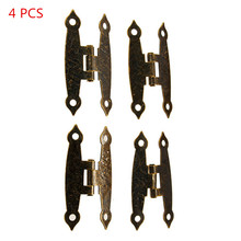 4pcs Wooden Box Hinge Antique H-Type Hinge Metal Hinge 4-Hole Flat Door Hinge Link Tablets for Jewelry Boxes Furniture Fittings