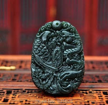 100% Natural HeTian Jade Carved Green Dragon Phoenix Lucky Amulet pendants Green Jade Pendant Necklace Fine Fashion Jewelry