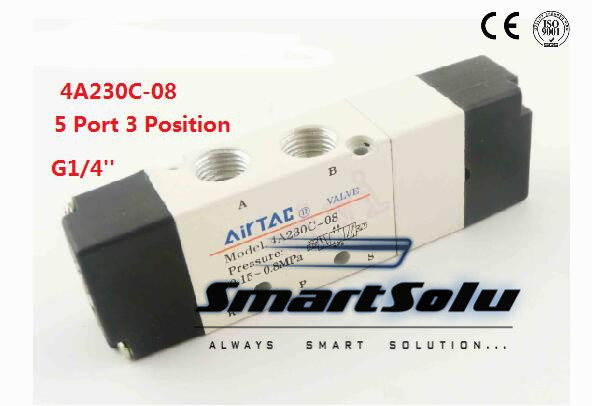 1pc/lot 5 Port 3 Position Double Head G 1/4 Solenoid Air Control Valve Inner Piloted Acting 1/4 bspt 4A230C-08<br><br>Aliexpress
