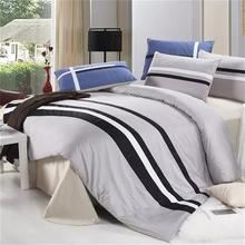 British Modern Style Striped Mens Bedding Set Queen Size,Blue Red Black and White Plaid for Bed,Cotton Bed Sheets Duvet Cover