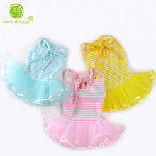MISS DOGGY Summer Stripe Dog Dress Puppy Clothes Wedding Princess Tulle Skirt Puppy Cat Dresses for Small Dog Teddy Spring