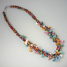 Tibet Nepal ethnic jewelry wholesale colored beads gravel necklace B-032(China)