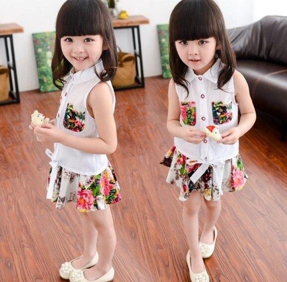 2-7Y new 2017 summer girls sleeveless shirt+ little flower skirt clothing set 2pcs girls summer suit children clothing sets<br><br>Aliexpress