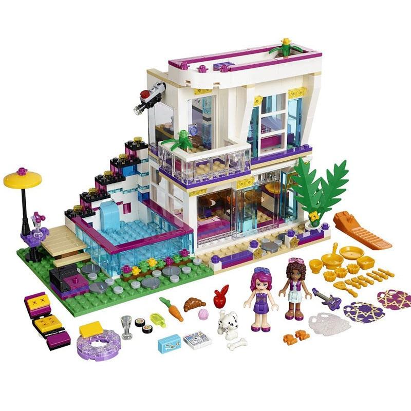 2017 LOZ New 619Pcs Friends Series Livis Pop Star House Andrea DIY Building Blocks Set Compatible With Legoinglys Friends<br>