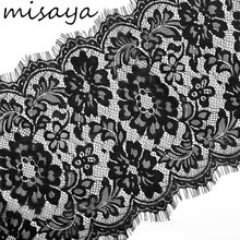 Misaya 3 Meter / lot Eyelashes Lace Trim Flower Black White Lace Fabric Handmade Diy Clothes Accessories 30cm Width