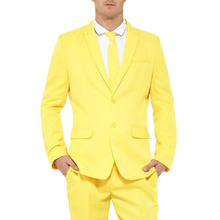 Yellow Formal Party Men Suits Notched Lapel Two Button Groom Wedding Tuxedos Two Piece Jacket Pants(China)