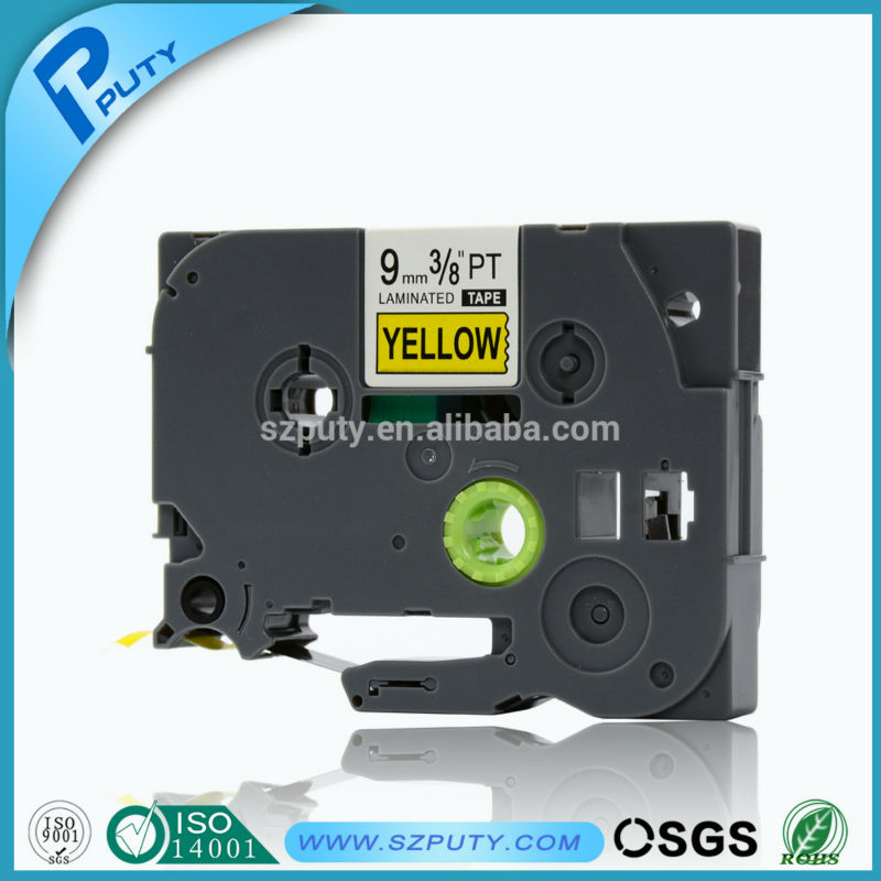 10pcs/lot TZ621 TZe621 TZe 621 TZe-621 Compatible 9mm Black on Yellow Label Tapes for P-touch Label Printers