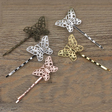 30*20mm Butterfly barrettes base settings 6 Colors vintage hair pin blank setting 20 PCS