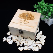 Personalized Wedding Gift Guest Book Box Wooden 100pcs Hearts Guest Book Custom Bridal Shower Drop Top Guestbook