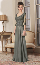 Mother of the bride dress with 3/4 sleeves lace appliqued chiffon floor length evening dress for mother of the bride CE930