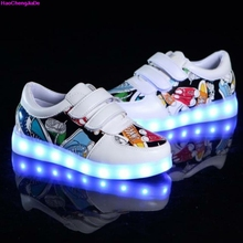 HaoChengJiaDe New Fashion Breathable Kids LED Luminous Sneakers USB Rechargeable Brand Child Boys girls Sports Shoes with lights(China)
