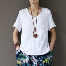 Johnature 2017 Summer Cotton White Shirts Short Sleeve V-neck Pocket Female Soft Top T-Shirt