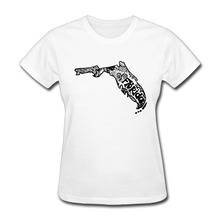 Womens Florida State Zentangle Funny short sleeve T-shirt college White(China)