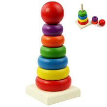 Wooden Toy Rainbow Tower Ring Kid Baby Stacking Stack Up Nest Learning Education Kids Baby Gift New Wholesale(China)