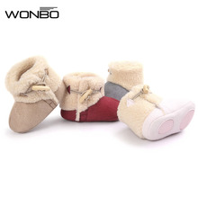 winter warm lovely baby shoes boys first walkers knitted sweater baby boots girls toddler shoes 0-1 years olds baby boy shoes(China)