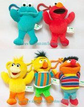 Free Shipping High Quality Soft 5 pcs Sesame Street Plush Dolls Toy Keychain New Wholesale and Retail