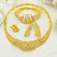 Wholesale Fashion Italian Gold Hollow Crystal Jewelry Charm African Beads Jewelry Sets Necklaces Earrings Wedding Jewelry Sets(China)