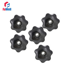 5pcs M10 x 50mm Female Thread Nut Clamping Knob Handles M10 Thread 50mm Head Diameter 7 Star Sharped Through Hole Star Knobs