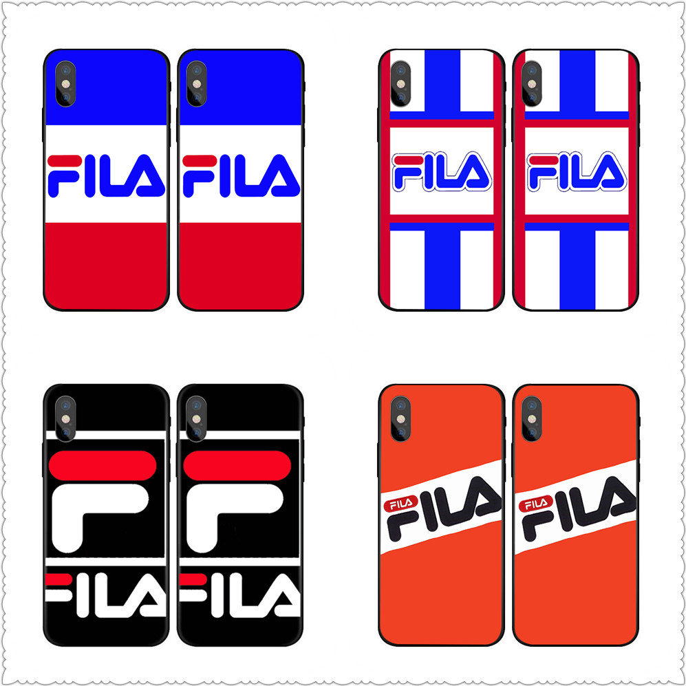 New Italy sport brand  phone Case For iphone X 7 8 Black silicone Sports FILA case For Samsung s7 s8 s9 Case