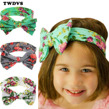 TWDVS Kids Printing Flower Bow Knot Elasticity Headband Newborn Cotton wide Knot hair band Kids Ring Hair Accessories W194(China)