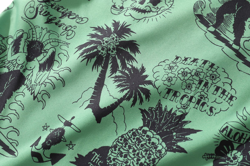 Graffiti Flamingo Palm Tree Pineapple Skull Print Shirts 9