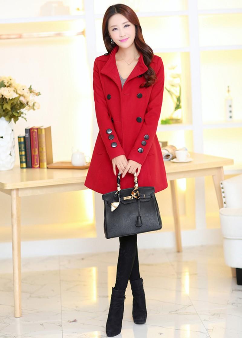 2016 New Women Trench Woolen Coat Winter Slim Double Breasted Overcoat (4)